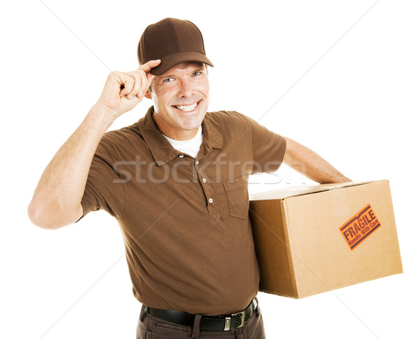 Polite Delivery Man Tips Hat Stock photo © lisafx