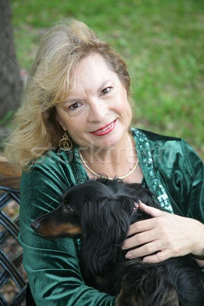 Canino maduro rubio mujer de pelo largo dachshund Foto stock © lisafx