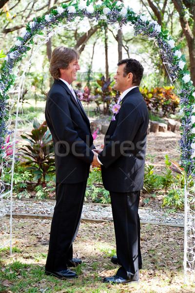 Matrimonio gay floreale arch bello gay Coppia Foto d'archivio © lisafx