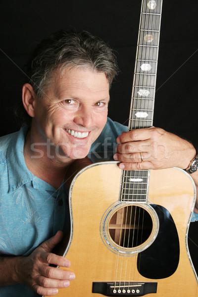 Portre yakışıklı gitarist olgun poz gitar Stok fotoğraf © lisafx