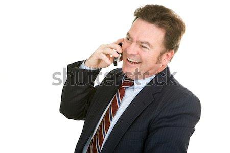 Empresário agradável conversa celular isolado Foto stock © lisafx