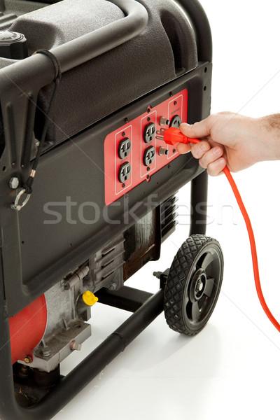 Urgence source de courant quelqu'un cordon portable essence Photo stock © lisafx