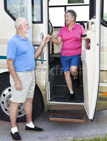 Beleefd senior man vrouw beneden Stockfoto © lisafx