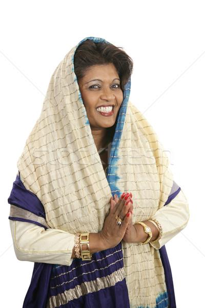 Hagyományos ruházat modern hozzáállás indiai nő Stock fotó © lisafx