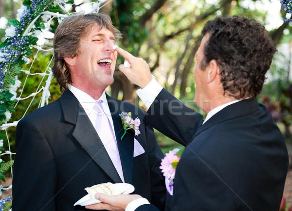 Knap homo paar bruidstaart een bruidegom Stockfoto © lisafx