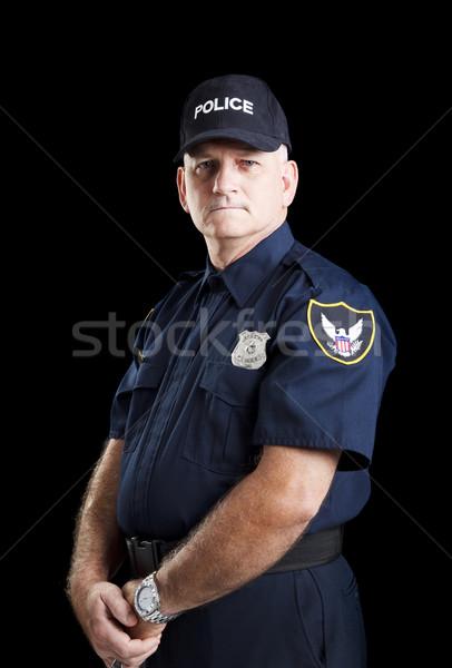 серьезный полицейский черный портрет человека безопасности Сток-фото © lisafx