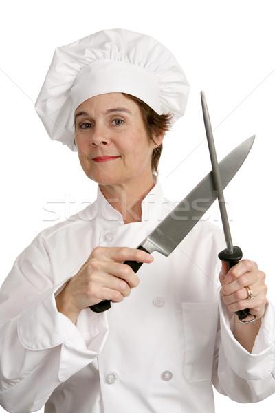 компетентный повар ножом женщины Ножи изолированный Сток-фото © lisafx