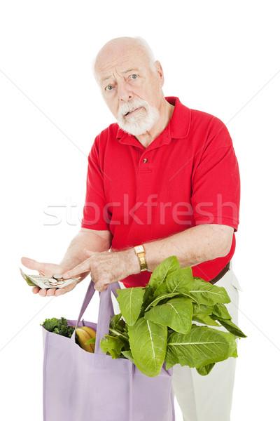 Magas költség étel idős férfi élelmiszer Stock fotó © lisafx
