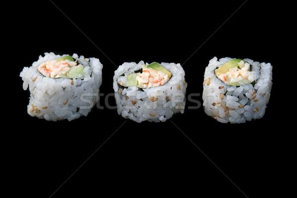Sushi On Black Plate 1 Stock photo © lisafx