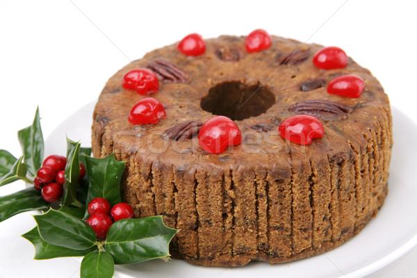 Hagyományos karácsony gyümölcstorta gyönyörű anime bogyók Stock fotó © lisafx