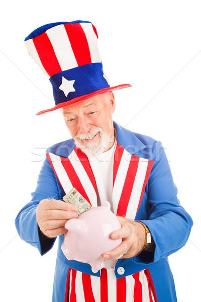 Nagybácsi takarékosság pénz valósághű persely metafora Stock fotó © lisafx