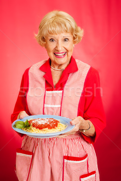 Grandmother Cooks Italian Spaghetti Stock photo © lisafx