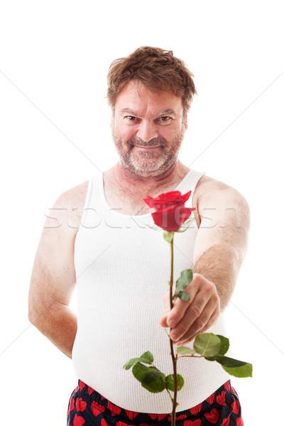 Scruffy Guy with Single Rose Stock photo © lisafx