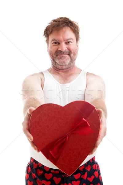 Valentin nap szív fickó retkes középkorú férfi alakú Stock fotó © lisafx