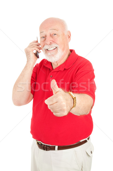 Cellphone Senior - Thumbsup Stock photo © lisafx