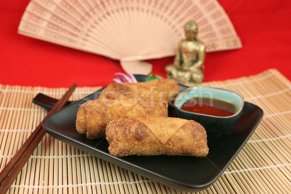 Egg Rolls & Buddha Stock photo © lisafx