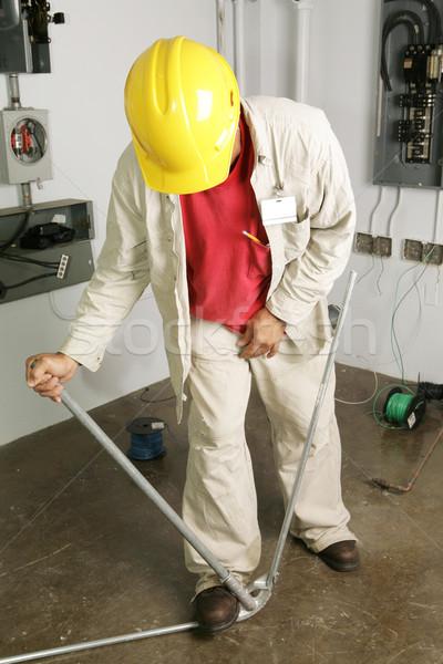 Foto stock: Eletricista · tubo · trabalhar · indústria