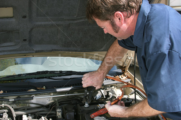 Mechanic Using Jumper Cables Stock photo © lisafx