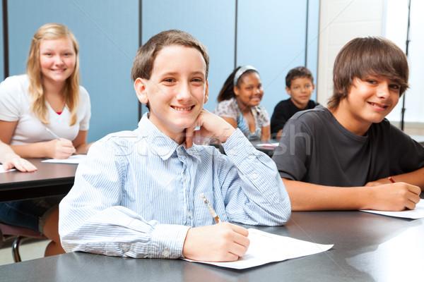 Chłopca klasy cute test Zdjęcia stock © lisafx