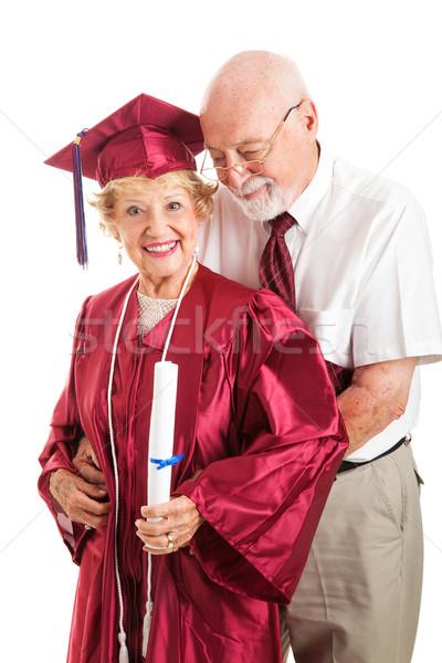 Férj főiskola diplomás feleség idős férfi Stock fotó © lisafx