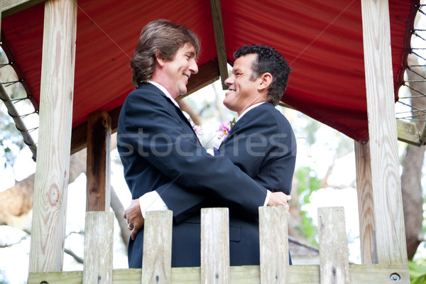 Happy Gay Couple Marries in the Park Stock photo © lisafx