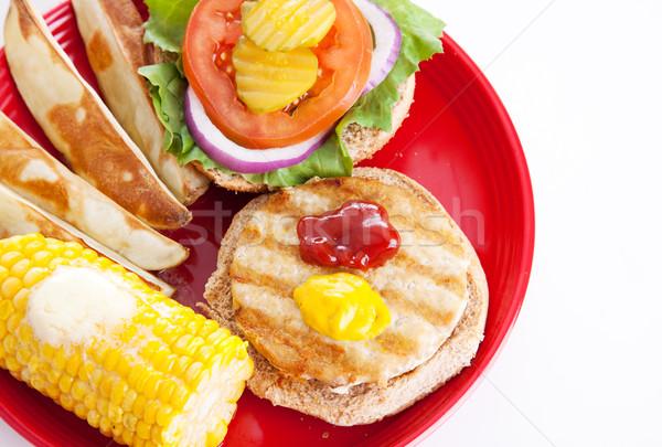Healthy Picnic Food - Turkey Burger Stock photo © lisafx