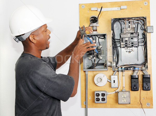 Electrician Crimping Wire Stock photo © lisafx