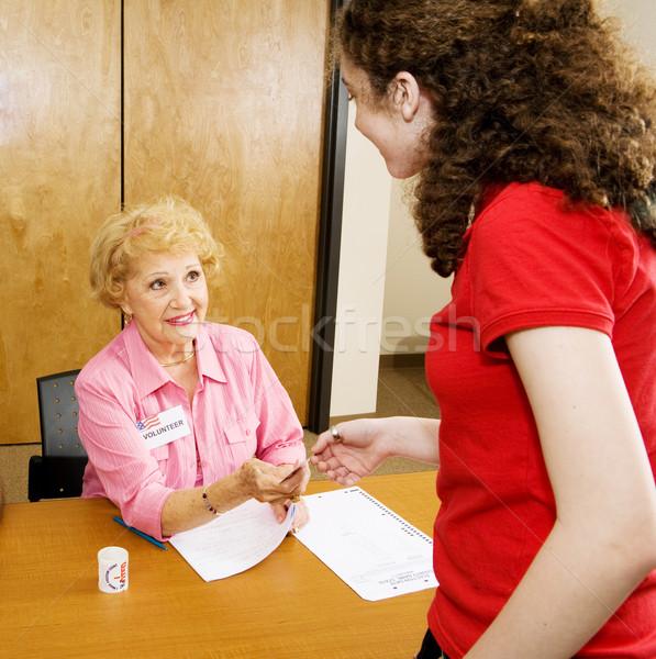 Supérieurs élection volontaire sur autocollants femme Photo stock © lisafx