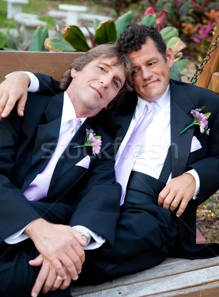 Portret liefhebbend homo echtpaar mannelijke paar Stockfoto © lisafx