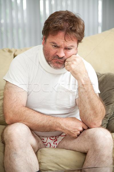 Letsel depressie gewond man nek Stockfoto © lisafx