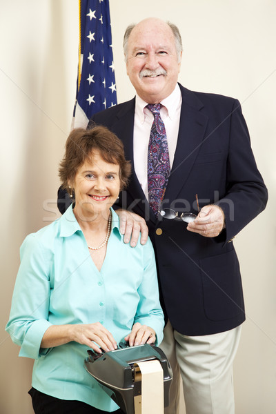 Gerichtsgebäude Gericht Berichterstatter Rechtsanwalt zusammen Mann Stock foto © lisafx