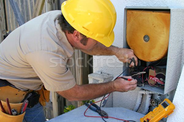 Légkondicionálás szerelő tech dolgozik hő gyógyulás Stock fotó © lisafx