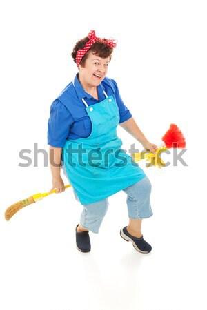 Stok fotoğraf: Hizmetçi · deli · komik · görüntü · yorgun · çılgın