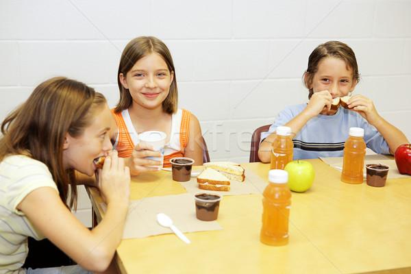 Stockfoto: School · lunch · cafetaria · groep · meisje