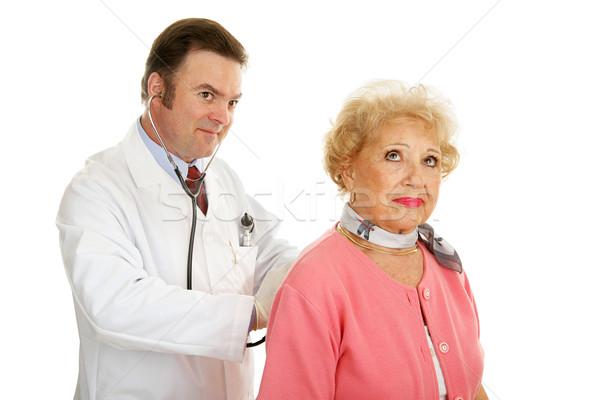 Photo stock: Supérieurs · médicaux · écouter · dame · médecin · isolé