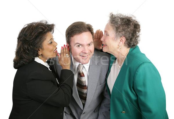 Kantoor geruchten twee vrouwen praatjes mannelijke Stockfoto © lisafx
