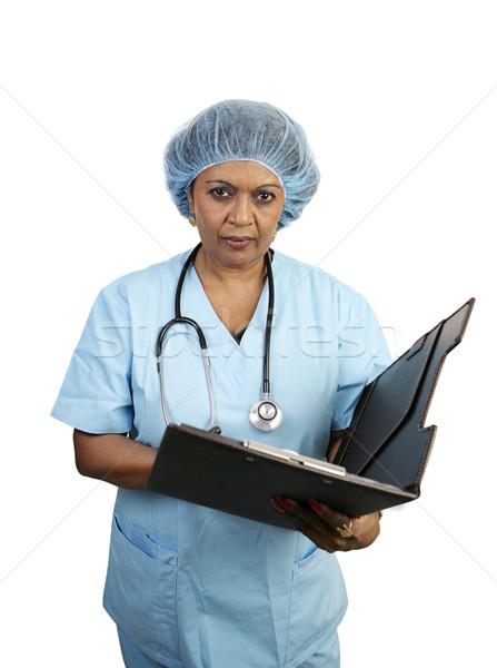 Stok fotoğraf: Cerrahi · hemşire · ciddi · bakıyor · ofis · doktor