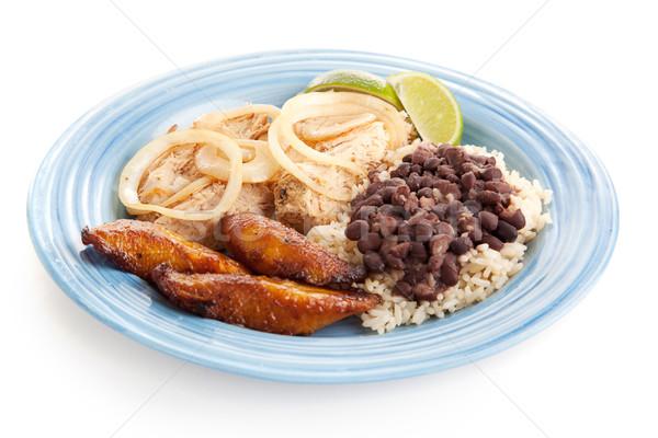 Cubano comida delicioso jantar carne de porco preto Foto stock © lisafx