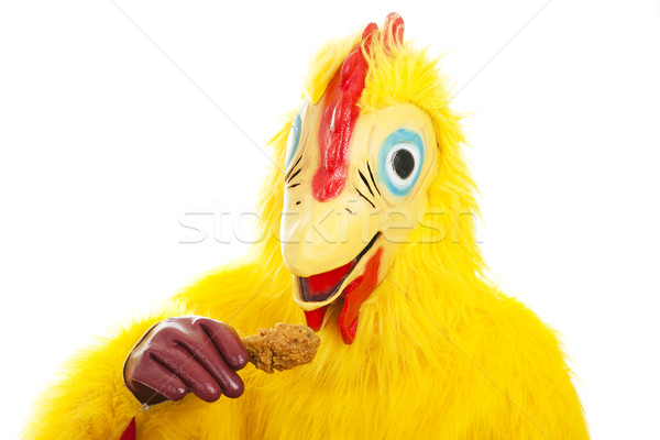 Chicken Man Eats Drumstick Stock photo © lisafx