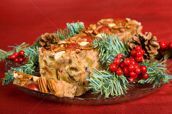 Stock photo: Christmas Fruit Cake Sliced