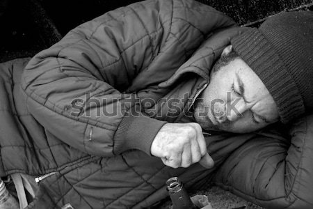 Sans-abri homme dormir rues film Photo stock © lisafx