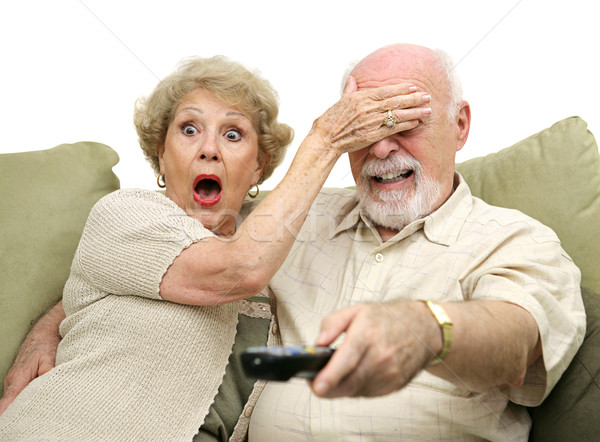 Seniors Shocked by TV Stock photo © lisafx