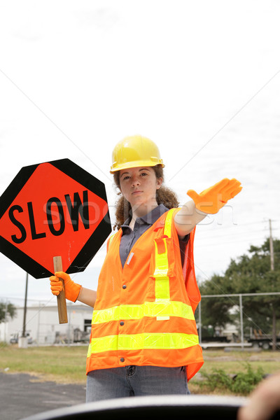 Lassú mögött kerék út legénység tag Stock fotó © lisafx