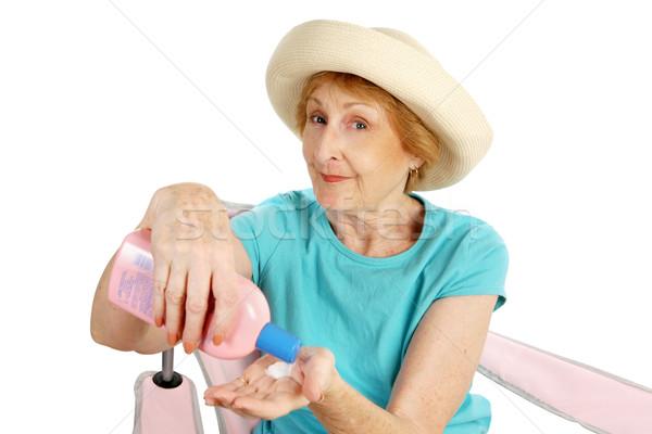 Nyár idős nap elleni védelem vásár piros hölgy Stock fotó © lisafx