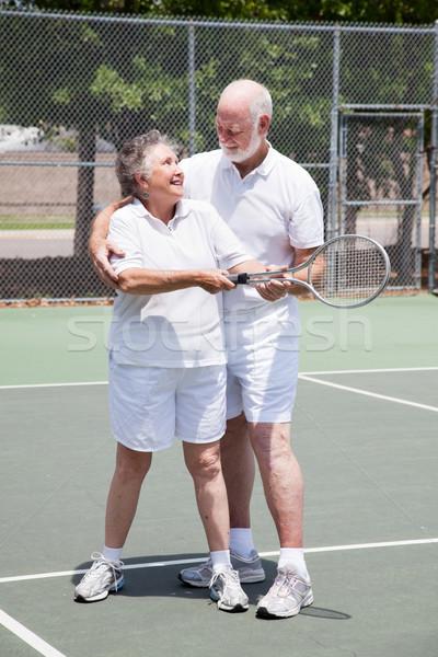 Tenis lekcja starszy kobieta dość przystojny Zdjęcia stock © lisafx