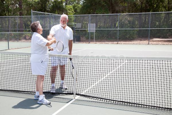 Tenis handshake kopia przestrzeń starszy gracze Zdjęcia stock © lisafx