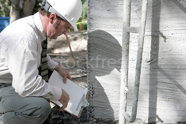 Building Inspector Checks Foundation Stock photo © lisafx