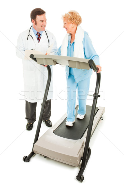 Egzersiz tıbbi gözetim kıdemli kadın yürüyüş Stok fotoğraf © lisafx