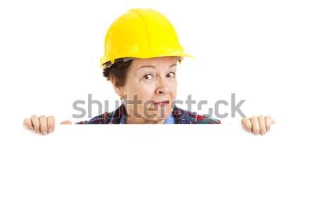 Vrouwelijke bouwvakker kiekeboe vrouw Stockfoto © lisafx