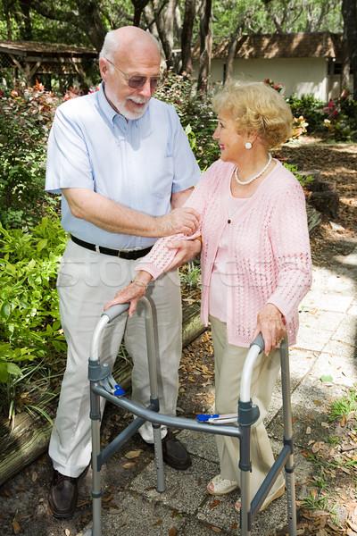 Couple de personnes âgées ensemble extérieur famille homme médicaux Photo stock © lisafx